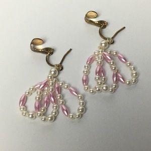 Vintage Pink Dangle Earrings Clip On